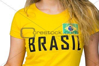 Football fan in brasil tshirt