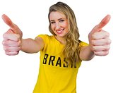 Pretty football fan in brasil tshirt