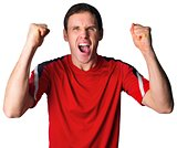 Cheering football fan in red