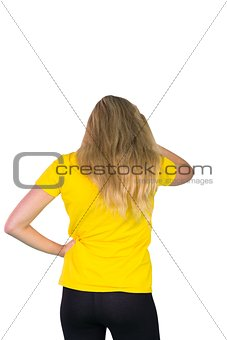 Football fan in yellow tshirt