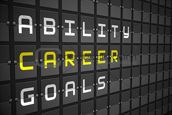 Career buzzwords on black mechanical board