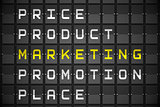 Marketing buzzwords on black mechanical board