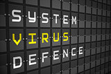 Virus buzzwords on black mechanical board