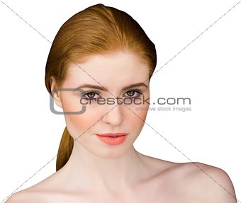 Beautiful redhead looking at camera