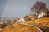 Rainbow in heavy rain Nizhny Novgorod Russia
