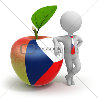 Apple with Czech Republic flag and businessman