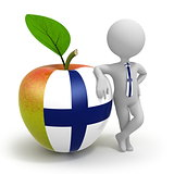 Apple with Finland flag and businessman