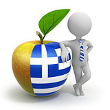 Apple with Greece flag and businessman