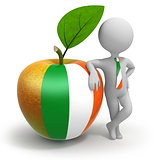 Apple with Ireland flag and businessman