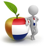 Apple with Netherlands flag and businessman
