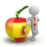 Apple with Spanish flag and businessman