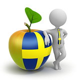 Apple with Sweden flag and businessman