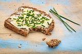 rye bread with butter and chive