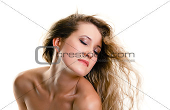 Attractive girl with closed eyes and flying hair. white backgrou
