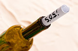 wine bottle with a note in the sand on the beach