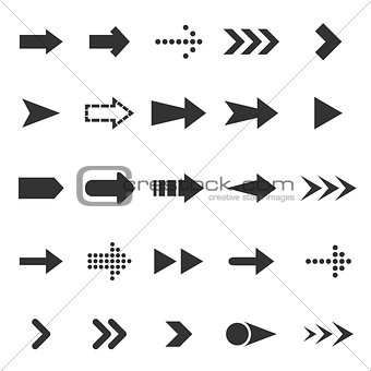 Arrow icons on white background