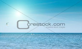 beautiful blue Caribbean sky and sun