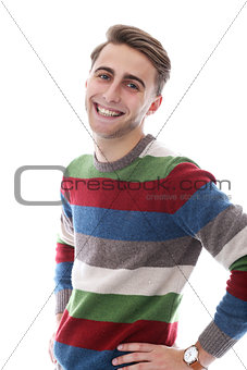 Attractive happy guy with bristle have wide smile