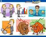 businessmen cartoon concepts set