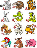 chinese zodiac horoscope signs set