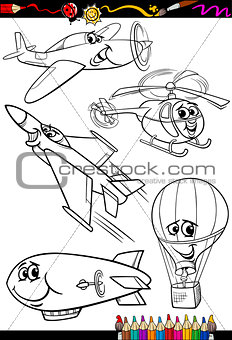 cartoon aircraft set for coloring book