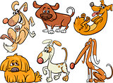 cute dogs set cartoon illustration