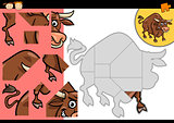 cartoon bull jigsaw puzzle game