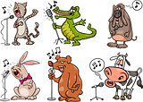 singing animals set cartoon illustration