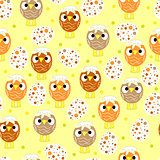 Seamless pattern with easter eggs and chickens art