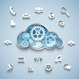 Gear wheel cloud and communication and network flat design