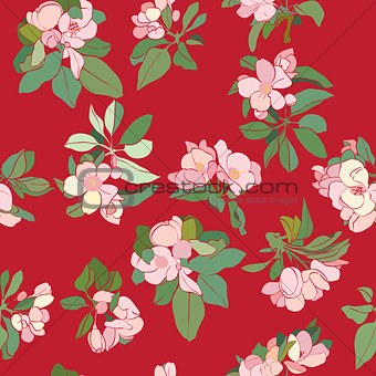 apple flowers deco pattern