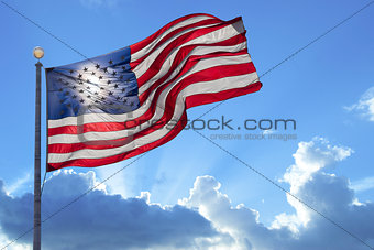 American flag on a blue sky