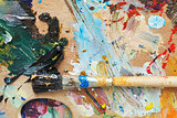 paint brush on wood artistic pallette