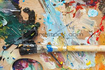 paint brush on wood artistic pallette