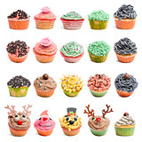 Cupcakes collection against white background in front of white background