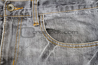 Grey jeans fabric with pocket