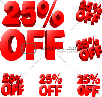 25% off Discount sale sign