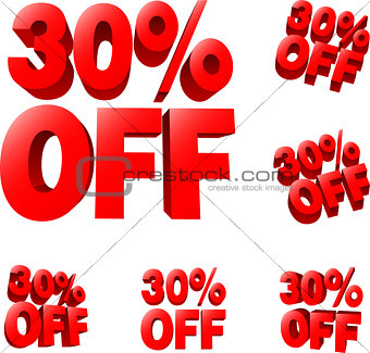 30% off Discount sale sign
