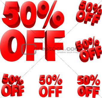 50% off Discount sale sign