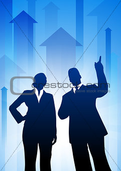 Business Team on Arrows Background