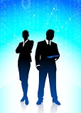 Business Couple on Binary Code Background
