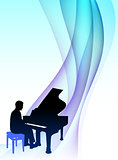 Piano  Musician on Abstract Flowing Background