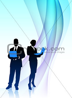 Business Couple  Musician on Abstract Flowing Background