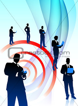 Business Team Musician on Abstract Flowing Background