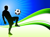 Soccer Player on Abstract Wave Background