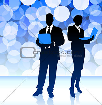 Business Couple on Blue Lens Flare Background
