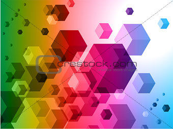 3D Cubes on Colorful Abstract Background