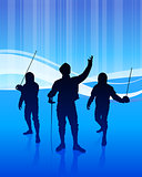 Fencing Sport on Abstract Blue Background