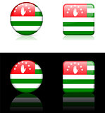 abkhazia Flag Buttons on White and Black Background