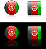 afghanistan Flag Buttons on White and Black Background